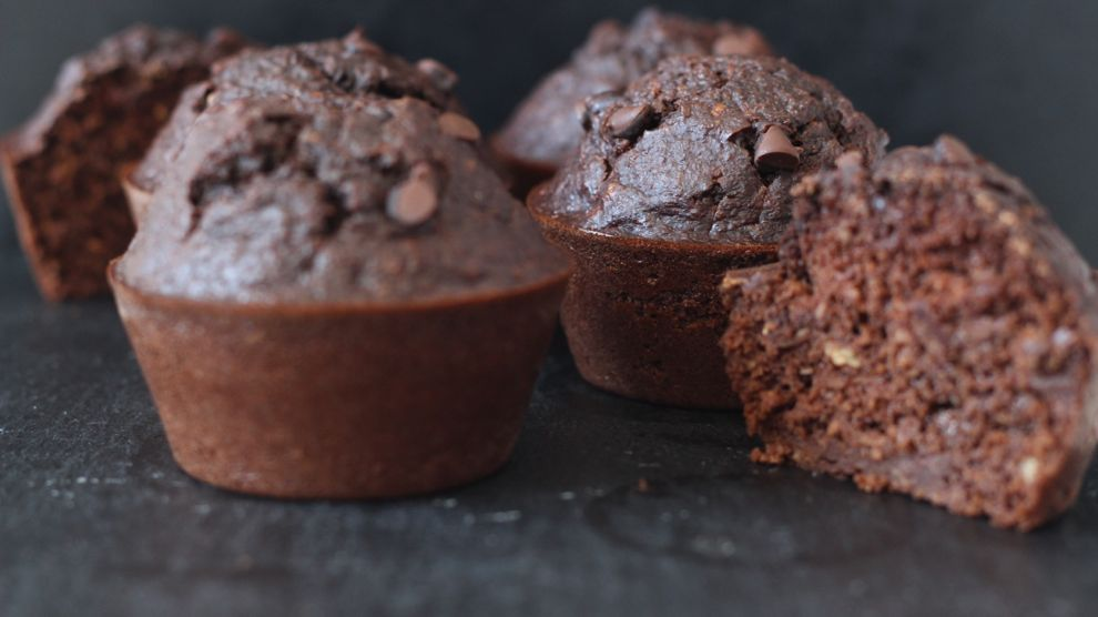 Muffins aux protéines en poudre et chocolat