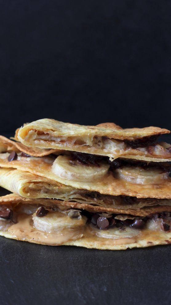Une tortillas chocolat et banane pour vos idées de collation healthy, à vous de tester.