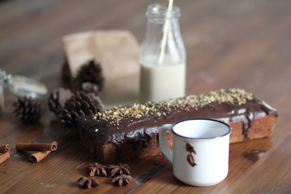 Pain d'épices sans gluten – vegan nappé de chocolat