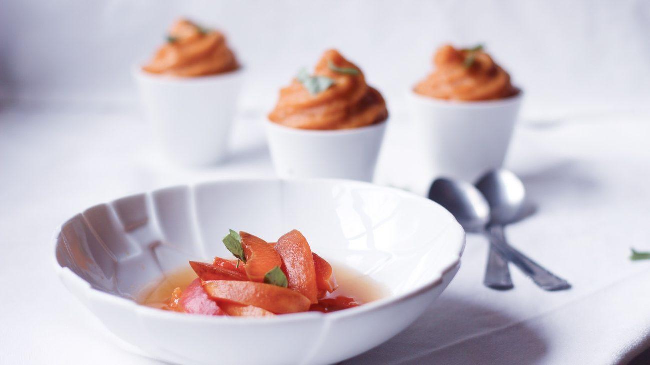 Mousse à l'abricot et soupe à l'abricot